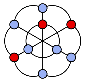 A well-covered graph, the intersection graph of the nine diagonals of a hexagon