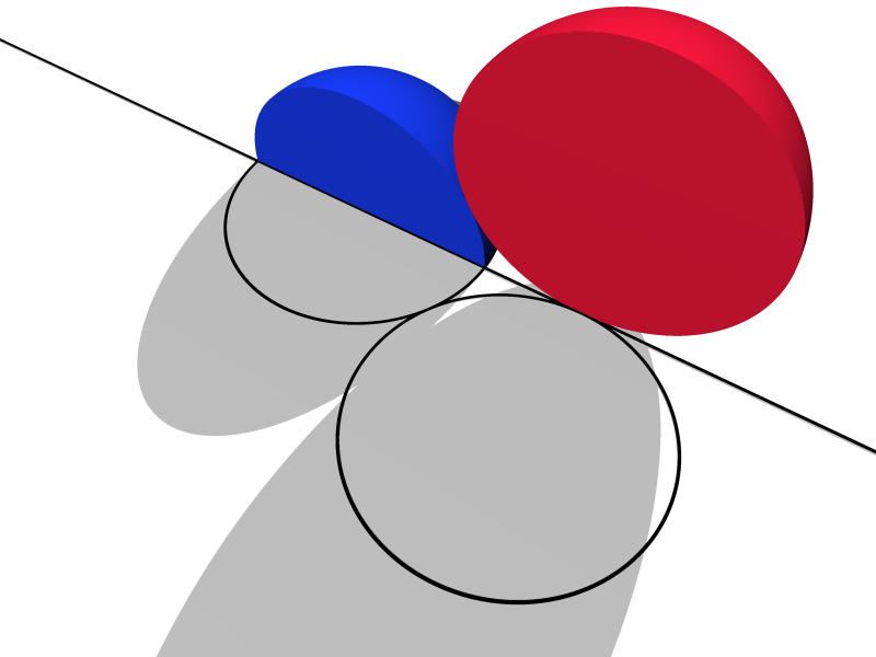 Abstract 3d scene of a blue quarter-sphere and a red hemisphere above a white plane, with their cross-sections projected onto the plane