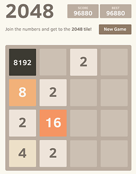 Screenshot of the 2048 game