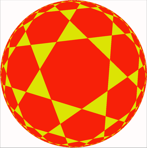 Tiling of the hyperbolic plane by heptagons and triangles in the Klein model