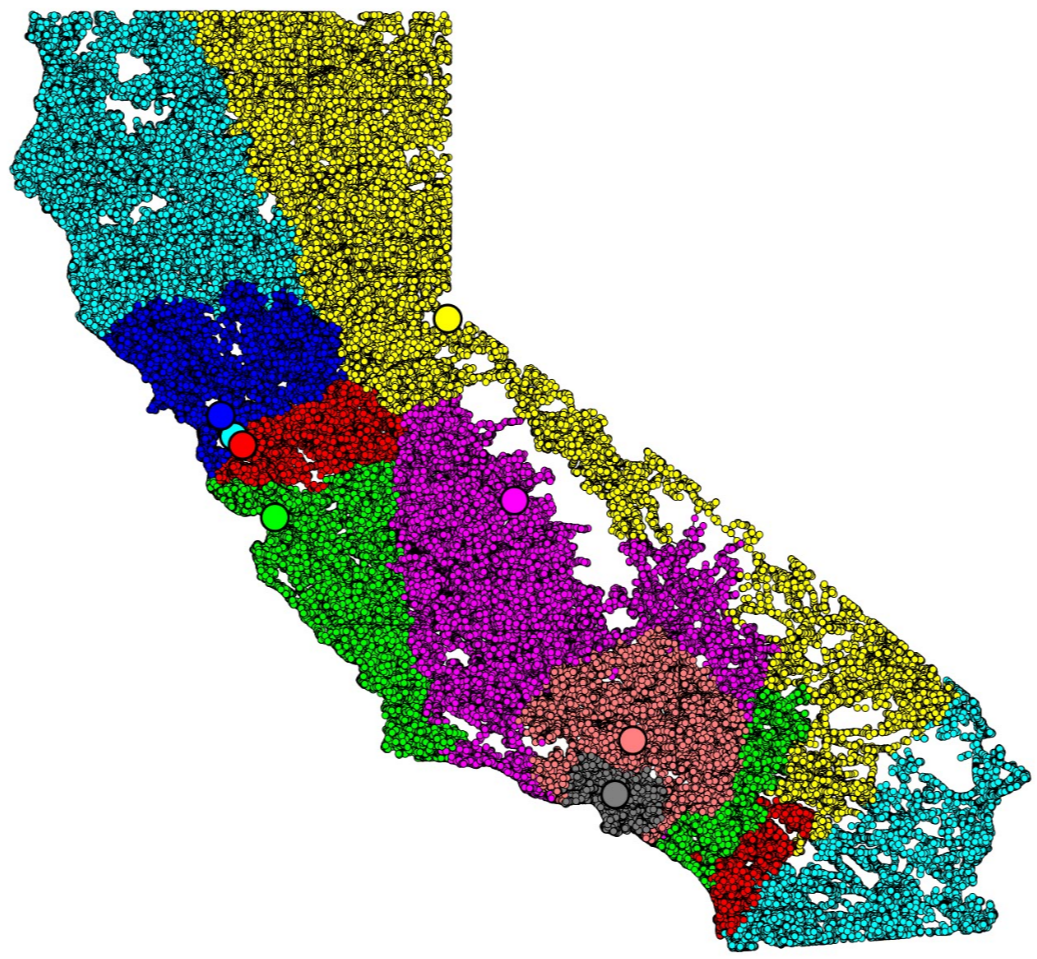 California partitioned into eight stable district