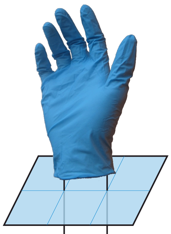 Spanning disk wrapping around a loop like a glove around a hand, adapted from https://commons.wikimedia.org/wiki/File:Disposable_nitrile_glove_with_transparent_background.png