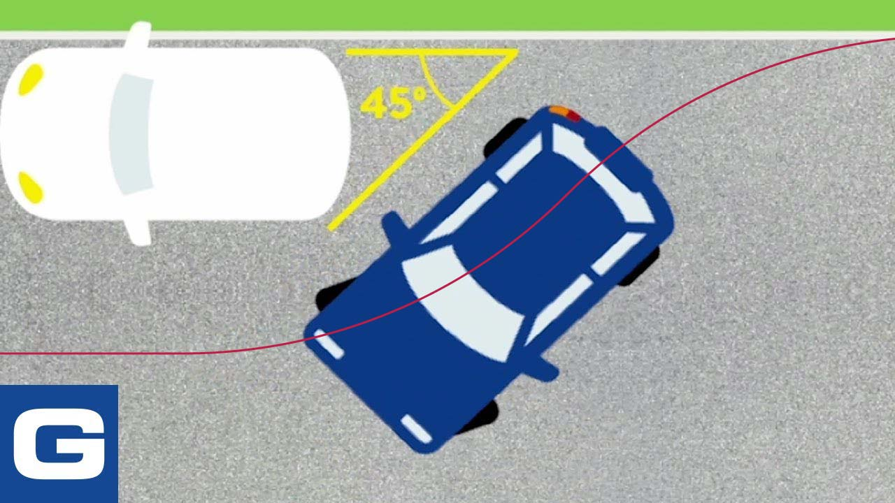 Top-down view of parallel parking, with the path of the rear-axle centerline shown in red. With the centerline ending up on the curb at the end of the path, the car itself will be well over the curb.